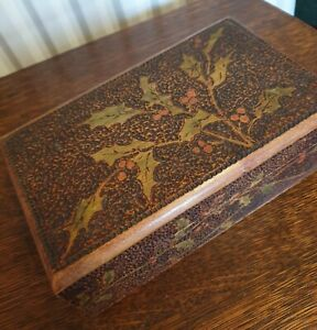 Antique Wood Poker Work Holly Decoration Box