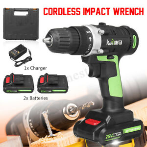 550nm Electric Cordless Impact Wrench Led Gun Drill 2 Speed W 2 Li Ion Battery