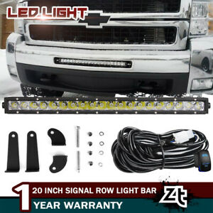 For Chevy Silverado 1500 2500 3500 Front Bumper 20 21 Inch Led Light Bar Combo