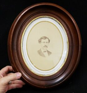 Antique Deep Walnut Oval Picture Frame Holds 8 X 10