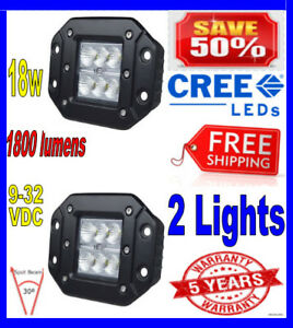 2x 4inch 4 Spot Flush Mount 18w Cree Led Pod Lights For Truck Jeep Off Road Atv