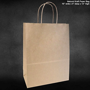 Reusable 50 Count Bulk Retail Shopping Craft Gift Bags Brown Paper With Handles