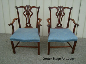 60062 Pair Solid Mahogany Armchair Chairs