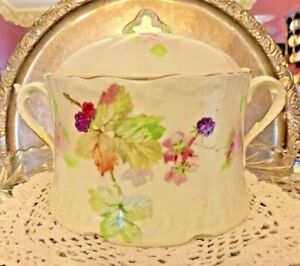 Vintage Shabby Chic Cracker Jar Hand Decorated With Leaves Berries Gold Trim