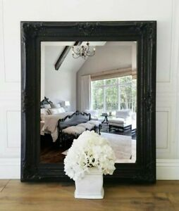 Vintage French Style Ornate Framed Mirror Black Beveled Wall Hollywood 33 X 39