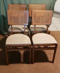 4 Stakmore Wood Folding Chairs W Cane Back