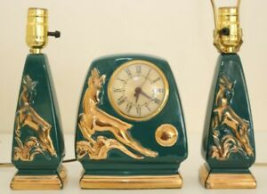 Vintage Ceramic Sessions Clock Pair Matching Table Lamps Aqua Gold Gazelle