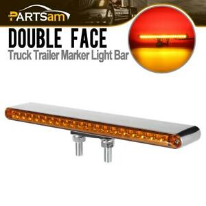 Truck Trailer Stop Turn Tail Light Bar 40 Led 12 Stud Mount Dual Face Red amber