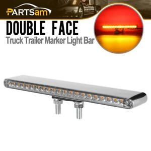 Truck Semi Trailer Light Bar Clear Red Amber 40 Led 12 Stud Mount Double Face