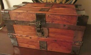 Antique 19thc Miniature Salesman Sample Steamer Trunk Chest