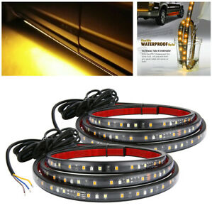 2 Pcs 60 Led Strips For Car Pedal Amber Running And White Door Open Unlock