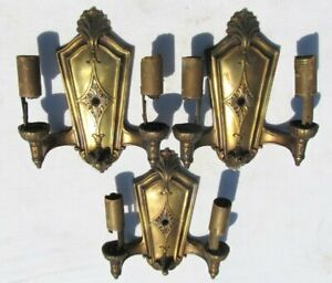 3 Vintage Antique 1920s Cast Metal Brass Clad Wall Sconce Light Lamp To Restore