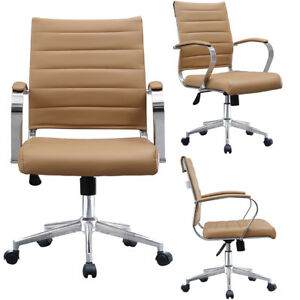 Low Back Ribbed Leather Adjustable Cushion Office Chair Computer Desk Seat