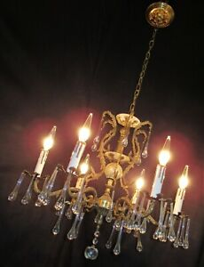 Vtg Deco French Cast Brass W Unusual Crystals Chandelier Ceiling Fixture 1950 S