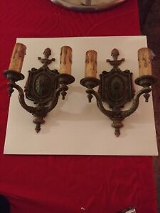 2 Art Deco Original Painted Wall Sconces With Double Arms And Original Candles