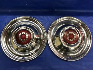 Very Rare Vintage Pair Of 1951 54 Packard 15 Hubcaps Colisenne Centers