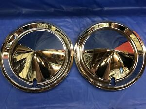 New 1970 s Pair Vintage Western Auto Custom Cone 14 Hubcaps Nos