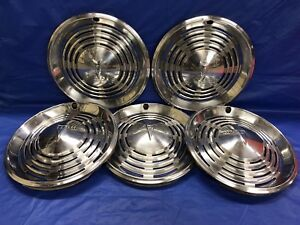 Vintage Set Of 5 1973 74 Pontiac 14 Hubcaps Firebird Grand Prix Lemans Ventura