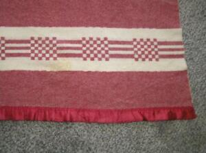 Vintage Blanket 73 X 78 Beacon Camp Trading Red Wool Checkered Trim