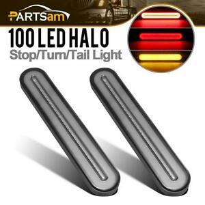 2pc Truck Trailer 9 Smoke Red Amber Led Brake Sequential Signal Tail Light Bars