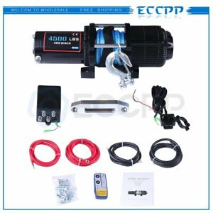 Eccpp 4500lbs Electric Winch Synthetic Rope Towing 12v Off Road For 81 18 Jeep