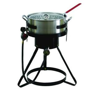 13 Outdoor Propane Gas Fish Fryer 50000 Btus With Heavy Duty 10 5 Qt Stockpot