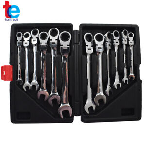 12pc Wrench Combination Spanner Tool Set 8 19mm Metric Flexible Head Ratcheting