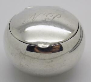 Vintage Sterling Silver 925 Italian Made Ball Shaped Pill Snuff Engraved Box