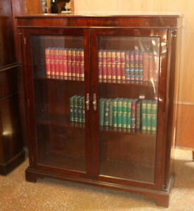 Bests Flame Mahogany Beveled Glass Two Door Bookcase Book Shelf
