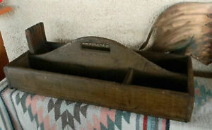 Old Antique Wooden 25 Carpenters Tool Saw Carrying Nail Box Tote