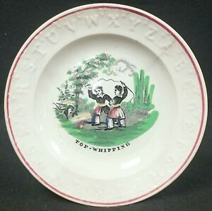 Antique Staffordshire Child S Plate Top Whipping
