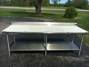Stainless Steel Food Prep Table With Poly Top 96 X 30 X 34 Nsf Certified Amteco