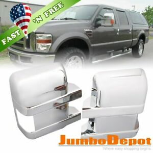 Us Chrome Door Full Mirror Cover Lh Rh For Ford F250 F350 F450 Super Duty 08 16