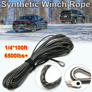 1 4 X100ft 6500lbs Synthetic Winch Rope Cable Line With Sheath Atv Utv Gray Us