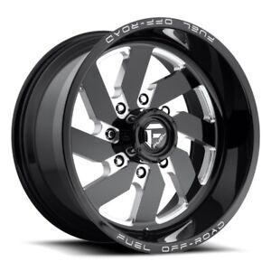 Set Of 4 Fuel Wheels D582 Turbo 22x12 8x180 43 Black Milled