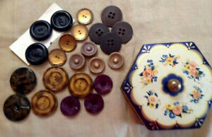 Vintage Octagon Floral Tin Md In W Germany Wi Antique Buttons Metal