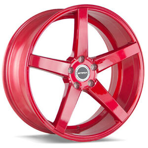 4 22 Inch Strada Perfetto 22x8 5 5x114 3 5x4 5 40mm Candy Red Wheels Rims
