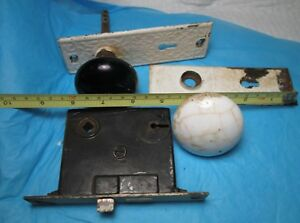 Antique Porcelain White Black Door Knobs Back Plates Latch Hardware Vintage