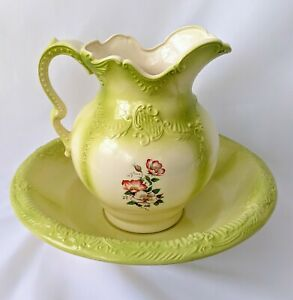 Vintage Large Ironstone Pitcher And Basin Set Wash Jug And Bowl Flowers Green