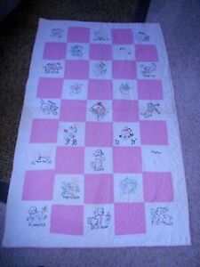 Vintage Childs Quilt Hand Embroidered Stitched 78x48 Dogs Kittens Cats Chicks
