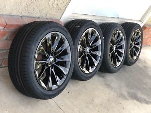 19 Tesla Model S Slipstream Factory Oem Black Wheels Rims Tires Goodyear