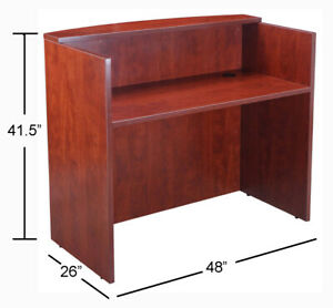 4 Ft Mini Reception Desk For Small Office Space Cherry Finish