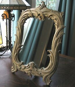 20 Antique Italy Rococo Table Mirror Frame Wood Gesso Vintage French Shabby