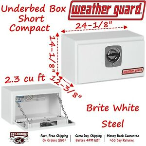 525 3 02 Weather Guard White Steel Compact Underbed Box 24 Truck Toolbox