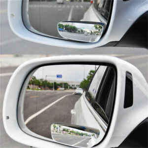 2pcs Car Blind Spot Mirrors Frameless 360 Adjustable Rear View Mirror Stick On