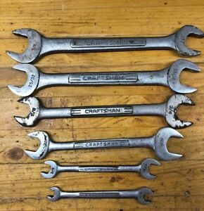Vintage Craftsman Usa Sae Double Open End Wrenches Set Of 6 Usa