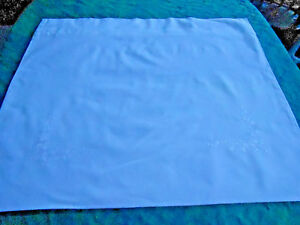 Antique White Cotton Pillow Sham With White Flower Embroidery Circa1920
