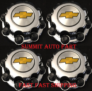 4 New Chevy Express Van 2500 3500 Silverado Chrome Center Hub Caps 8 Lugs Wheel