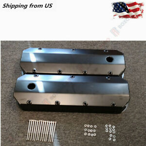 New Black Aluminum Fabricated Valve Cover Set For Chevy 1965 1995 396 454 Bbc