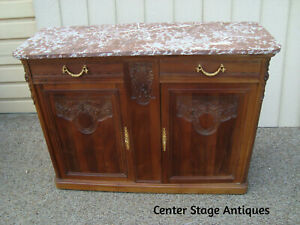 59974 Marble Top Buffet Sideboard Server Cabinet